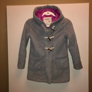 Girls Old Navy gray coat size M toggle button hood